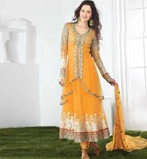 double layered net embroidered anarkali dress material yellow
