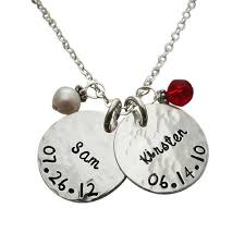 Mothers Necklace With Children S Names Name U0026 Birthdate Necklace Silver Necklace With Childrens Names