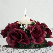 flower candle rings 8 pack of artificial burgundy candle rings wedding