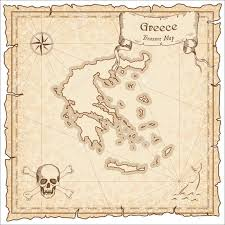 greece old pirate map sepia engraved template of treasure map