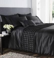 beautiful black colour stylish ruffles faux silk duvet cover