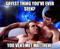 Gayest Meme Ever - gayest thing you ve ever seen you vent met matthew spock and kirk