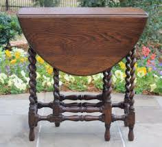 Drop Leaf Oak Table Antique English Oak Barley Twist Drop Leaf Table Oval Gate Leg