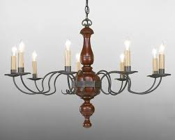 Iron And Wood Chandelier Distressed Paint And Aged Tin Metal And Wood Chandelier Lchsc