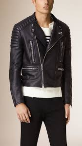 mens leather biker jacket burberry leather biker jacket in blue for men lyst