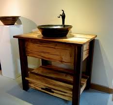 Traditional Bathroom Vanities And Cabinets Traditional Bathroom With Black Wooden Bowl Vessel Sink And Light