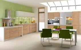 green kitchen walls with brown cabinet of incredible wall colour