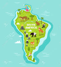 Hummingbird Map South American Map With Wildlife Animals Vector Illustration
