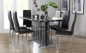 black marble dining table set magnus black marble dining table with 6 renzo black chairs chrome
