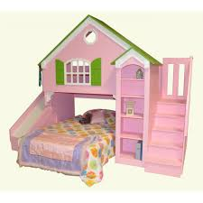 pink turquoise castle bunk beds with slide and stair mixed railing
