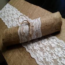 burlap and lace table runner 14 inches wide wedding party home