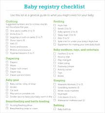 baby registrys sle baby registry checklist 7 documents in pdf excel
