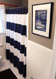 Red White Shower Curtain Nautical Bathroom Curtain Humble Abode Pinterest