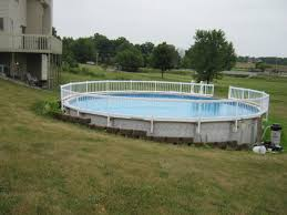Backyard Landscaping Ideas With Pool by Decor U0026 Tips Interesting Above Ground Pool Ideas And Railings