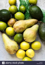 overhead view of yellow and green colour fruits stock photo