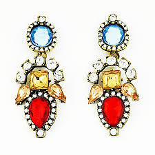 statement earrings aztec poppy drops rhinestone statement earrings by shamelessly