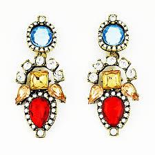 aztec poppy drops rhinestone statement earrings by shamelessly