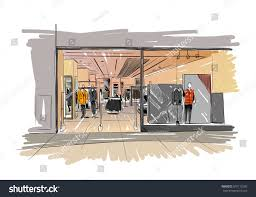 fashion store hand drawn sketch interior stock vector 507113209
