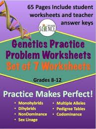 genetics practice problems pedigree tables genetics practice problem worksheet bundle by amy brown science tpt
