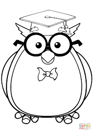 wise owl with glasses and graduate cap coloring page free