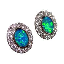 turquoise opal earrings opal diamond stud earrings 14k gold natural gems flashopal