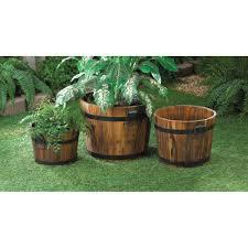 wholesale country style oak barrel garden planters wooden plant