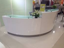 Oval Reception Desk High Quality Semi Circle Half Round Exhibition Glass Top Reception