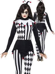 Jester Halloween Costumes Women Ladies Jester Halloween Costume Adults Harlequin Clown Fancy Dress