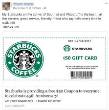 starbuck gift card deal fact check free starbucks gift card scam