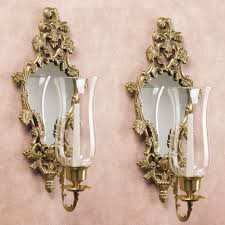 Wall Sconces For Flowers Athea Mirrored Brass Wall Sconce Pair