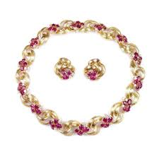 pink collar necklace images 18ct gold ruby and diamond collar necklace and pair of earrings jpg