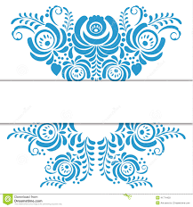 russian ornaments frame in gzhel style stock vector image