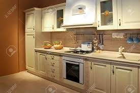 vintage style kitchen interior in beige color stock photo picture