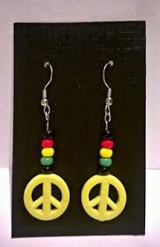 reggae earrings reggae set bracelet earrings and a ring handmade black