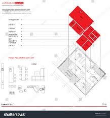 Architecture Symbols Floor Plan Architectural Drawings Plans Background 3d Diagram Stock Vector