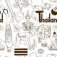 fun sketch thailand seamless pattern royalty free cliparts