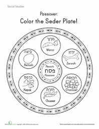 passover seder for children color the seder plate learning easter and holidays