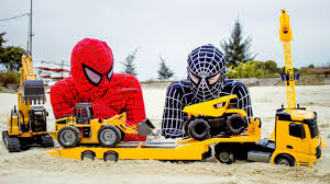 construction trucks for kids with spiderman and black spiderman