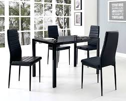 glass dining table set glass dining table set and with 4 black faux leather chairs decoration
