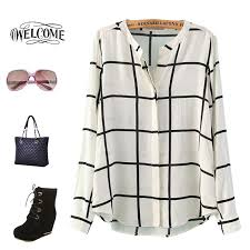 Black And White Plaid Shirt Womens Sale 2015 Spring And Summer Women Plaid Shirts Streetwear Of