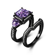 black and purple engagement rings black and purple wedding rings