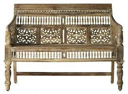 Sette Bench Hand Carved Rajasthan Settee Indoor Chaise Lounge Chairs By