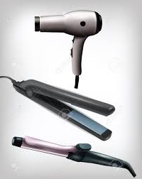 collection of realistic flat iron curling iron and hair dryer