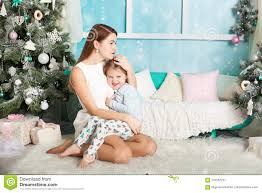 Mother Daughter Christmas Ornaments Mother And Daughter In A Christmas Decorations Stock Photo Image