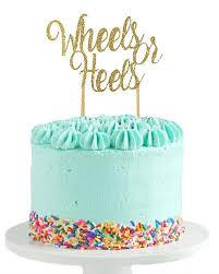 gender reveal cake toppers wheels or heels gender reveal party ideas halfpint party design