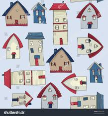 village houses pencil drawing colorful seamless stock vector