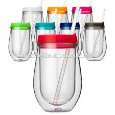 wholesale insulated plastic stripped stemless wine glasses10 oz