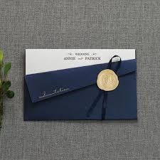 navy blue satin ribbon gorgeous navy blue pocket wedding invitation thin satin ribbon bow