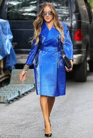 sarah jessica parker steals the show in blue trench at calvin