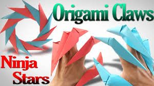 Origami Paper Claws - how to make an origami claws and shuriken step by step
